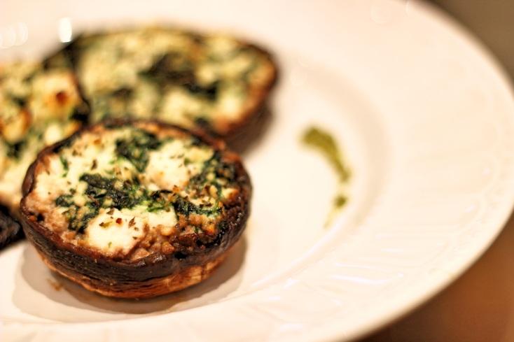 Ricotta & Spinach stuffed Portobello mushrooms